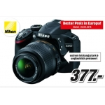 Mediamarkt Onlineshop: Nikon D3200 + 18-55VRII Objektiv (in schwarz) im Set um nur 377 € statt 422,02 €