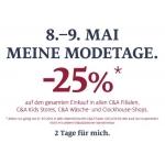 C&A: -25% Rabatt am 8. und 9. Mai 2014, nur in den Filialen