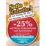 Billa: -25% auf Wein, Schaumwein und Spirituosen am 30. u. 31.5.2014 (f. Vorteilsclubmitglieder)