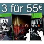 3 Games / Blu-rays kaufen und 55€ bezahlen bei Amazon.de