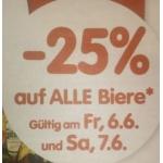 Spar/Eurospar/Interspar: -25% auf alle Biere am 6. u. 7.6.2014