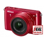 Mediamarkt Online-Deal: Systemkamera NIKON 1 S1 Kit + 11-27.5mm rot + 1 NIKKOR VR 10-100mm 1:4-5,6 silber um 480 €