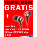 Teufel: 75€ Rabatt ab 500€ Einkaufswert + Teufel Move In-Ear Kopfhörer kostenlos im Wert von 69,99€ ab 199€ Einkaufswert