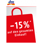 Minus 15% auf den gesamten Einkauf im DM-Onlineshop und in den Filialen