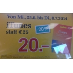 Billa: 25 € iTunes-Karten um 20 € bis 8.7.2014