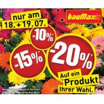Bis zu -20 % auf einen Artikel eurer Wahl beim Baumax am 18. & 19.7.2014