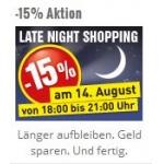 Late-Night-Shopping bei Baumax: 15 % Rabatt am 14.8.2014 von 18-21 Uhr