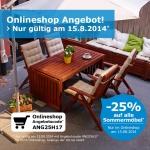 nur am 15.8.: 25% Rabatt auf alle Sommermöbel im IKEA Onlineshop