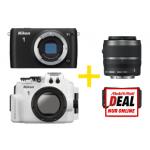Nikon 1 S1 Kit + Zoom- & Teleobjektiv + Unterwassergehäuse um 800€