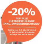 Ikea: -20% auf alle Kleiderschränke samt Inneneinrichtung bis 28.9.2014