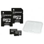2x Transcend Class 10 UHS-I micro-SDHC 16GB Speicherkarte mit SD-Adapter um 14,90€