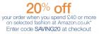 -20% auf Kleidung, Schuhe, Uhren und Schmuck ab £40 @Amazon.co.uk