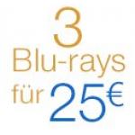 Filmangebote bei Amazon – z.B. 3 Blu-rays um 25€