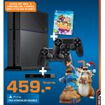 PlayStation 4 Schwarz 500 GB inkl. 2x DualShock4 Wireless Controller + Kamera + Little Big Planet 3 um 459€