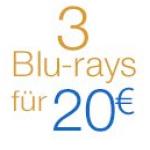 3 Blu-rays oder 6 DVDs für 20€ bei Amazon
