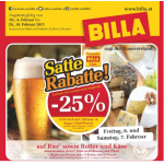 Satte Rabatte z.B. -25% auf Bier & eXtrem Billa Angebote (1+1 Gratis)