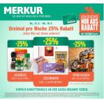 Merkur: -25 % auf 3 Warengruppen (z.B. W-25 % auf Spirituosen od. Süsswaren) sowie 1+1 kostenlos (z.B.: Persil Waschmittel)