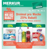 Merkur: -25 % auf 3 Warengruppen (z.B. -25% auf Alkoholfreie Getränke) sowie 1+1 kostenlos