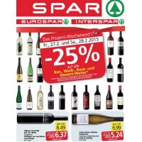 Neue Sortimentsaktionen (-25% auf Rot-, Weiss-, Rosé- und Dessertwein bei Spar, Eurospar & Interspar)