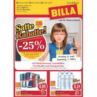 Neues Billa Prospekt: z.B. 1,5L Coca-Cola um 1,01€ statt 1,69€ durch -25% auf Mineralwasser, Limonaden, Fruchtsäfte und Energydrinks