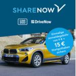 DriveNow Aktion – 9,98 € Anmeldegebühr statt 29 € + 15 Freiminuten