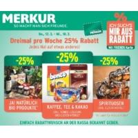 Merkur: -25% auf 3 Warengruppen bis 18.3. – z.B.: -25 % auf Spirituosen