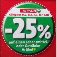 -25 % Aufkleber bei der Spar-Gruppe bis 30.7.2015