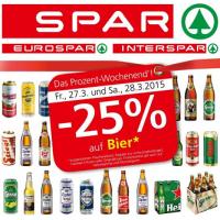 Spar/Eurospar/Interspar: -25% auf Bier (Radler) am 27. u. 28.3.2015