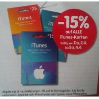 Interspar: – 15% auf iTunes-Karten vom 23. bis 25. April 2015