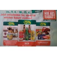 Merkur: -25% auf 3 Warengruppen vom 9.- 15.4.2015 – z.B.: -25% auf das gesamte Biersortiment inkl. Beertender