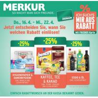 Neue Sortimentsaktionen z.B.: -25% auf Kaffee, Tee und Kakao bei Merkur