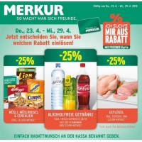 Merkur: -25% auf 3 Warengruppen bis 29.4. – z.B.: -25 % auf alkoholfreie Getränke – Red Bull um 0,89 €