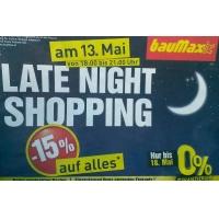 Baumax Late-Night-Shopping: 15 % Rabatt am 13.5.2015 von 18-21 Uhr