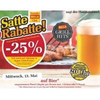 Billa: -25% auf Bier (Radler) heute am 13. Mai 2015 (für Clubmitglieder)