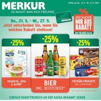 Merkur: -25% auf 3 Warengruppen vom 21.- 27.5.2015 – z.B.: -25% auf das gesamte Biersortiment inkl. Beertender