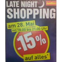 Baumax Late-Night-Shopping: 15 % Rabatt am 28.5.2015 von 18-21 Uhr