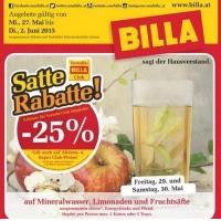 Billa: -25 % auf Mineral, Limo und Fruchtsäfte am 29. & 30.5.2015