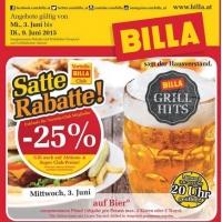 Billa: -25% auf Bier (Radler) am 3. Juni 2015 (für Clubmitglieder)
