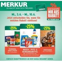 Merkur: -25% auf 3 Warengruppen bis 20.5. – z.B.: -25 % auf Spirituosen