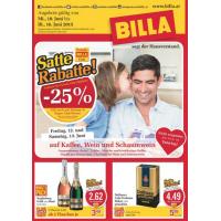 Neue Sortimentsaktionen z.B.: -25% auf Kaffee, Wein und Schaumwein bei Billa