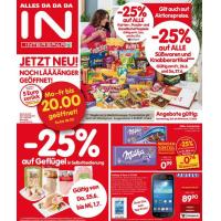 Neue Sortimentsaktionen z.B.: -25% auf alle Süßwaren und Knabberartikel bei Interspar oder -25% auf Tiefkühlprodukte bei Billa