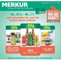 Merkur: -25% auf 3 Warengruppen vom 25.6.- 1.7.2015 – z.B.: -25% auf das gesamte Biersortiment inkl. Beertender
