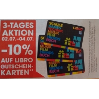 – 10 % auf Libro Gutscheinkarten vom 02.07. –  04.07.2015