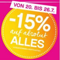 15 % Rabatt auf ALLES bei Bipa bis 26.7. (ausgenommen Wertkarten)