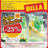 Billa: -25 % auf Mineral, Energydrinks, Limo und Säfte am 31.7. & 1.8.