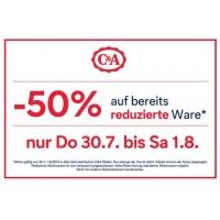 50 % zusätzlichen Rabatt auf bereits reduzierte Waren in den C&A-Filialen