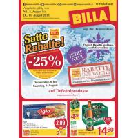 Neue Sortimentsaktionen z.B.: -25% auf Tiefkühlprodukte bei Billa