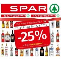 Spar / Eurospar / Interspar: -25% auf Spirituosen am 21. u. 22.8.2015