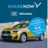 DriveNow Aktion - 0 € Anmeldegebühr statt 29 € & 15 Freiminuten im Wert von 5,50 € kostenlos - ca. 34,50 € Ersparnis!